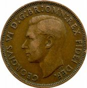 1937 to 1952 Half Penny George VI Grade from Fine to EF